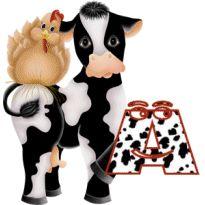 Alfabeto con vaca y gallina.   Oh my Alfabetos!