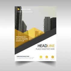 Leaflet with yellow geometric shapes free vector diseño gráfico дизайн флае Company Brochure Design, Company Profile Design, Graphic Design Brochure, Brochure Design Inspiration, Brochure Layout, Brochure Template, Book Design, Layout Design, Web Design