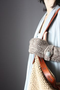 Crochet Fingerless Gloves Taupe   Mittens Arm Warmers  cloud  strap button. $35.00, via Etsy.