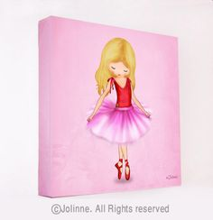 Ballerina dancer pink wall art girls room decor canvas by jolinne, $49.00
