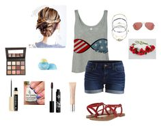 """""""4th of July Fun"""" by peculiarsisters ❤ liked on Polyvore featuring moda, VILA, Minnetonka, Accessorize, Eos, Yves Saint Laurent, Rouge Bunny Rouge, Sigma Beauty y Ray-Ban"""