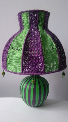 The Mad Hatter is a small upcycled tabletop or bedside lamp which will enlive. Crochet Lamp, Hand Crochet, Vintage Lamps, Vintage Table, Bohemian Lamp, Quirky Home Decor, Bedside Lamp, Lampshades, Green And Purple