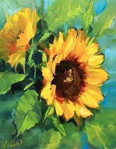 """SOLD ~ Warm Thoughts Sunflowers and a Painting Giveaway by Texas Artist Nancy Medina"" - Original Fine Art for Sale - © Nancy Medina"