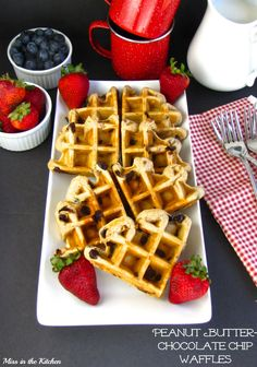 Miss in the Kitchen::  Peanut Butter Chocolate Chip Waffles