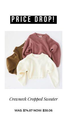 Price Drop, Cropped Sweater, Crew Neck, Sweaters, Crop Top Sweater, Sweater, Sweatshirts