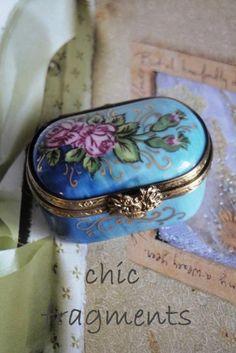 Vintage Limoges Trinket Box - blue with pink roses.