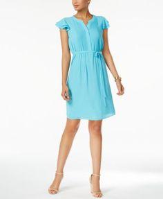 Nine West Pintucked Flutter-Sleeve Dress
