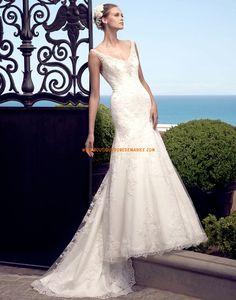 Robe de mariée sirène col V perles dentelle tulle