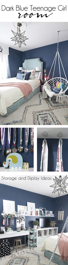 Dark Blue Teenage Girl Room | macrame hanging chair | rainbow pillow | colorful moroccan shag rug | turquoise velvet bed | Moravian star pendant | transitional teen girls room | teenage girl room | preteen bedroom | pre-teen bedroom | #girlsbedroom #teenagegirlsroom #teenager #teenroom via @jakonya
