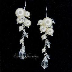 Bridal EArrings, Wedding Earrings, Long Swarovski Ivory Pearls Earrings, Bridal Jewelry, Wedding Jewellery, Bridesmaid Earrings  E1003