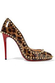 Dorispiky 100 studded leopard-print patent-leather pumps