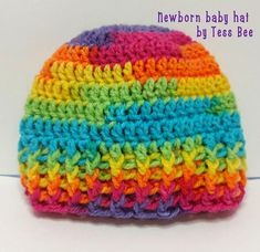 Rainbow Baby Hat, Unisex Unique One of a Kind Baby Beanie Hat. Available  in sizes prem, newborn, 0-3m 3-6m  Hand crocheted using a vibrant random multicolour rainbow DK yarn which changes colour randomly.  Due to the changing colours of this fabulous yarn no two hats are the same.      #babyhat  #rainbowbabyhat  #multicolourbabyhat  #unisexbabyhat  #genderneutralbabyhat  #boyorgirlbabyhat  #dontknowthegenderbabyhat  #genderunknownbabyhat  #newbornbabyhat  #josephscoatbabyhat  #happybabyhat… Hand Crochet, Crochet Hats, Baby Beanie Hats, Premature Baby, Baby Boy Or Girl, Rainbow Baby, Bee, Vibrant, Colours