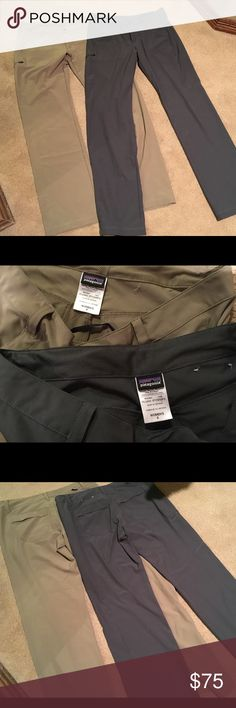 3 pairs Patagonia Happy Hike pants sz 8 Patagonia Happy Hike pants size 8 in khaki and graphite. Excellent condition. Stretchy. 4th picture shows a different Patagonia pant style made of polyamide & polyester (not stretchy) in a spa mud color. Listing is for 3 pairs. Patagonia Pants Straight Leg