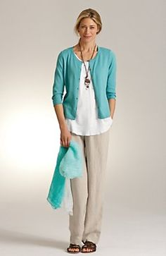 JJill Cardigan, Top, & Pants Love the Simple Beauty and Color. Pacific (Aqua) White Linen