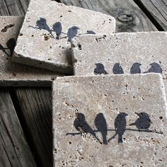 hostess friend gift travertine tile coasters in dark by EcoPrint