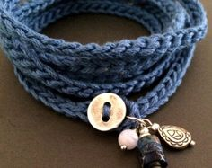 Crochet wrap bracciale / collana in indaco, bohemien gioielli, gioielli, bracciale braccialetto all