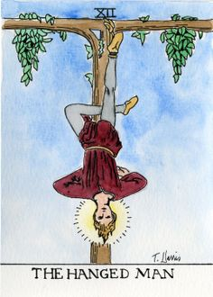 Tarot The Hanged Man 5x8 Print from Original by Earthspalette, $10.00