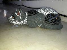 mosaic cat statue