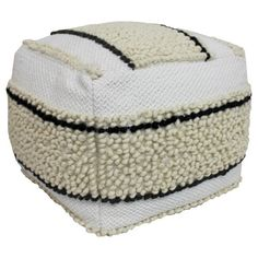 • Polyester construction<br>• 100% polystyrene bead fill<br>• Easy care spot clean<br><br>Amp up the comfort in your home with the Black & White Pouf - Threshold. The nubby cover is fun and soft—perfect for extra seating for guests at a moment's notice, or for lounging with the family. And it blends easily with any décor from mid-century modern to contemporary.