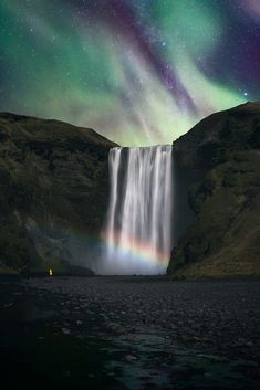 Moonbow, by Olivier Symon. Beautiful Photos Of Nature, Beautiful Nature Wallpaper, Beautiful Images, Image Nature, Nature Images, Nature Photos, Champs, Northern Lights Iceland, Waterfall Paintings
