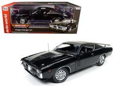 1971 Dodge Charger R/T TX9 Black on Black Hardtop with Sunroof MCACN Limited Edition to 1002pc 1/18 Diecast Model Car by Autoworld