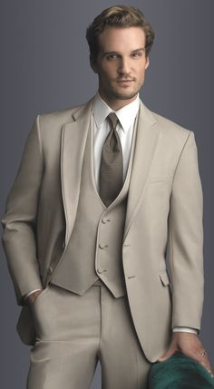 Tan Allure Suit in slim fit, 2-button notch lapel with matching vest.  Available at #FriarTux ....perfect.