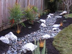 Swale, french drain, rock river