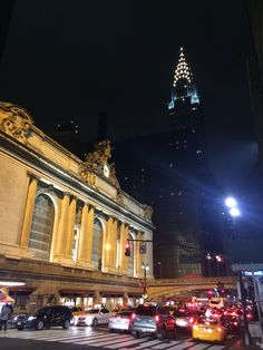 Grand Central Station and Chrysler Building at night