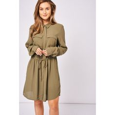 Khaki Shirt Dress with Tie Waist Ex-Branded