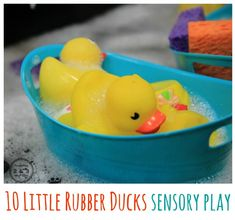 This toddler spring sensory play activity is inspired by Eric Carle's Book, 10 Rubber Ducks. It's a soothing water activity that also builds fine motor skills while using sponges and transporting the ducks in their containers. Sensory Tubs, Sensory Activities, Infant Activities, Sensory Play, Activities For Kids, Play Activity, Spring Activites, Sensory Rooms, Sequencing Activities