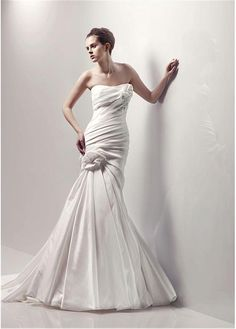 CHARMING TAFFETA STRAPLESS MERMAID TRUMPET WEDDING DRESS LACE COCKTAIL EVENING GOWN IVORY WHITE FORMAL BRIDAL PROM