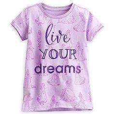 Disney Store Princess Dreamgirls Live Your Dreams Tee T-Shirt for Girls Purple Size 7/8 @ niftywarehouse.com #NiftyWarehouse #Disney #DisneyMovies #Animated #Film #DisneyFilms #DisneyCartoons #Kids #Cartoons
