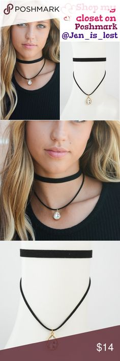 Coming 11-8 Dual Strap Gemstone Choker Dual Strap Gemstone Choker. 100% Polyester.  White Stone Jewelry Necklaces