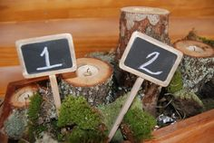 Rustic weddingmini chalkboard table number by Thefrontporch1950, $7.50