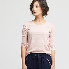 New Season Women's Fashion Clothing | Wild South - COTTON STRIPE CREW NECK TOP