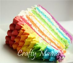 A ruffle top rainbow cake; when six rainbow layers in a cake is not enough to impress, you can add some impeccable ruffle icing in rainbow shades.Cake Over-achievement Award! Beautiful Cakes, Amazing Cakes, Easy Kids Birthday Cakes, Happy Birthday, Cake Birthday, Birthday Ideas, Cake Cookies, Cupcake Cakes, Rainbow Frosting