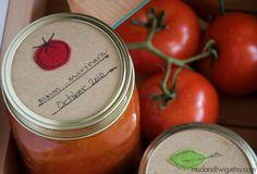 Mason jar gift labels  tomato  12pc  regular or von mudandtwig