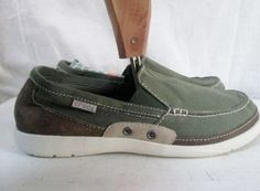 NEW Mens CROCS 14392 Walu Accent Slip-On Loafer Boat Shoe ARMY GREEN 9 STUCCO