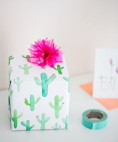 What could be cuter than this cacti printed gift wrap? Your packages will be wrapped to absolute perfection with this watercolor Revel and Co. cacti paper. Your family & friends won't even want to ope