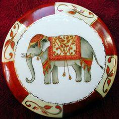 China Clay, China Art, Indian Elephant, Elephant Design, Painted Porcelain, Teller, China Painting, Pottery Painting, Tile Art
