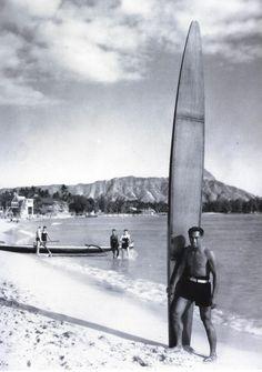 Duke Kahanamoku on Waikiki Beach, circa 1930s. Photo by Tai Sing Loo