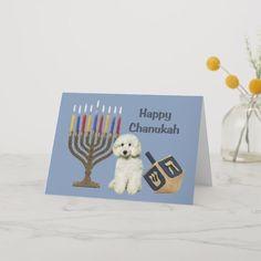 Shop Poodle Chanukah Card Menorah Dreidel created by normagolden. Holiday Cards, Christmas Cards, How To Celebrate Hanukkah, Hanukkah Cards, Love Holidays, Menorah, Bichon Frise, Christmas Card Holders, Paper Texture