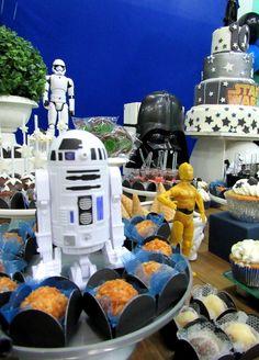 Decoração Clean Star Wars + bolo + doces