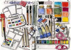 Liz Steel and her art supplies. #art #journal #sketch #watercolor #painting #palette #supplies