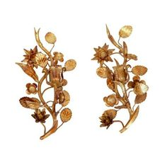 Image of 1960s Italian Gilt Floral Candle Sconces - A Pair