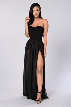 - Available in Black - Strapless Maxi Dress - Attached Bodysuit - Mesh Skirt Bottom - Front Side Slit - Made in USA - 95% Rayon 5% Spandex