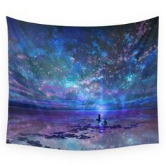 Society6 Ocean, Stars, Sky, And You Wall Tapestry Small: 51  Unique, Cool and Trendy Wall Tapestry Hangings make any home look more decorated, stylish and beautiful.  You can gather inspiration and home decoration ideas by checking out these cute pieces of modern wall art.    These tapestries are luxurious, popular and versatile.  In addition to making great modern wall art you can use them as table cloths, curtains and even ceiling art.