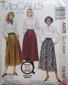 """Easy 90 Minute Pleated Skirt Sewing Pattern- McCall's 4408 - Sizes 10-12-14, Waist 25"""" - 28"""" - Uncut by Shelleyville on Etsy"""