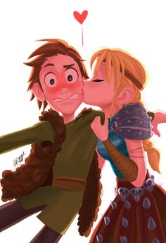 Aww I love how hiccup is all blushed and how Astrid got him off guard !!! (miacat125)