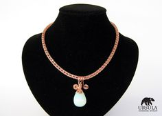 Viking Moonstone Necklace Raw Copper Jewelry by UrsulaChainmaille, $30.00